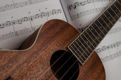 De Muziek van het ukeleleblad Royalty-vrije Stock Foto's