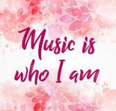 De muziek is wie ik roze bloemenachtergrond ben royalty-vrije illustratie