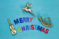 De muziekconcept van het Kerstmisteken stock foto