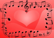 De muziekhart van de liefde, de achtergrond van muzieknotensymbolen Stock Foto's