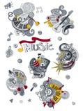 De Muziekillustratie van beeldverhaalhand getrokken krabbels Kleurrijke gedetailleerd, met veel objecten vectorachtergrond Royalty-vrije Stock Foto's