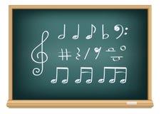 De muzieknota's van de tekening door een krijt Stock Foto