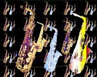 De muziekontwerp 1 van de saxofoon Royalty-vrije Stock Fotografie