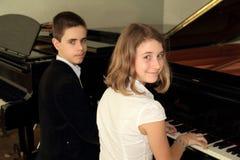 In de muziekschool stock foto