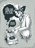 De muzikale affiche van Steampunk Royalty-vrije Stock Afbeeldingen