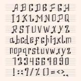 De muzikale decoratieve van de de doopvonthand van het nota'salfabet van de het tekenmuziek de score abc typografie glyph behangt Royalty-vrije Stock Fotografie