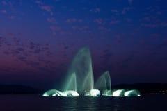 De muzikale fontein van het Meer van het westen Stock Afbeeldingen