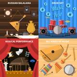 De muzikale Geplaatste Pictogrammen van het Instrumentenconcept Stock Foto's
