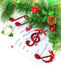 De muzikale grens van Kerstmis Stock Afbeeldingen