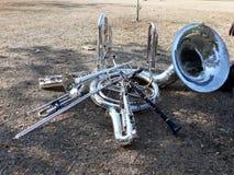 De muzikale instrumenten, het marcheren band, zetten ter plaatse, Suza Phone, trompet, klarinet, saxofoon stock foto's