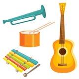 De muzikale instrumenten van het beeldverhaal Royalty-vrije Stock Foto