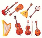 De muzikale instrumenten van het beeldverhaal Het instrumenten vectorinzameling van de gitarenmuziek stock illustratie