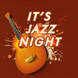 De muzikale Jazz Night-affiche of de uitnodiging van de partijviering Stock Afbeeldingen