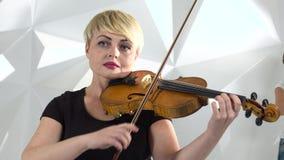 De muzikale kwartetmeisjes voert de samenstelling op drie violen en cello uit Witte studio Sluit omhoog stock video