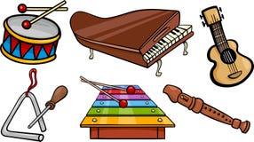 De muzikale objecten reeks van de beeldverhaalillustratie Stock Foto's