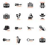 De muzikale pictogrammen van het genreweb Royalty-vrije Stock Foto's