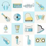 De muzikale reeks van de instrumenten vlakke lijn vector illustratie