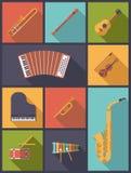 De muzikale Vectorillustratie van Instrumentenpictogrammen Stock Fotografie