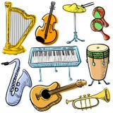 De muzikale vectorreeks van de instrumentenkrabbel Leuke illu van de lijnkunst eenvoudig Royalty-vrije Stock Afbeelding