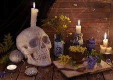 De mystique toujours la vie avec le crâne, le livre ouvert et les fleurs Photos libres de droits