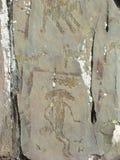 De mythische die rotstekening van het humanoidschepsel in rotsen wordt gesneden royalty-vrije stock foto
