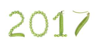2017 de números con los guisantes verdes Foto de archivo