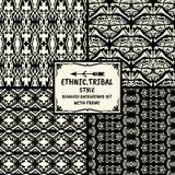 De naadloze abstracte inzameling van de patroon stammen etnische stijl met Fr Stock Afbeelding