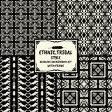 De naadloze abstracte inzameling van de patroon stammen etnische stijl met Fr Royalty-vrije Stock Fotografie