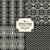 De naadloze abstracte inzameling van de patroon stammen etnische stijl met kader Royalty-vrije Stock Foto's