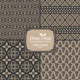 De naadloze abstracte inzameling van de patroon stammen etnische stijl met kader Royalty-vrije Stock Foto