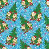 De naadloze achtergrond, de babys en de boom van Kerstmis Stock Fotografie