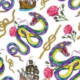 De naadloze achtergrond met slang, schip en nam toe vector illustratie