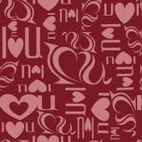 De naadloze achtergrond van brieven 'I houdt van u' Stock Foto's