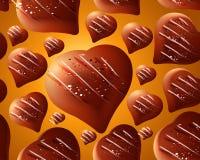 De naadloze achtergrond van chocoladeharten Stock Afbeeldingen