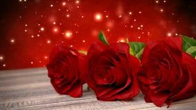 De naadloze achtergrond van de lijnverjaardag met rode rozen op houten bureau 3d geef terug royalty-vrije illustratie