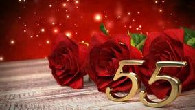 De naadloze achtergrond van de lijnverjaardag met rode rozen op houten bureau fiftyfifth verjaardag vijfenvijftigste 3d geef teru stock illustratie