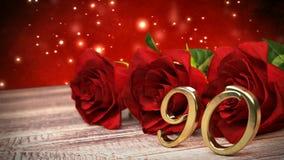 De naadloze achtergrond van de lijnverjaardag met rode rozen op houten bureau negentigste verjaardag negentigste 3d geef terug vector illustratie