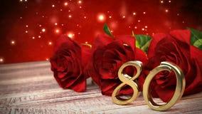 De naadloze achtergrond van de lijnverjaardag met rode rozen op houten bureau Tachtigste verjaardag tachtigste 3d geef terug stock illustratie