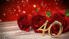 De naadloze achtergrond van de lijnverjaardag met rode rozen op houten bureau veertigste verjaardag veertigste 3d geef terug vector illustratie