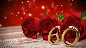De naadloze achtergrond van de lijnverjaardag met rode rozen op houten bureau zestigste verjaardag zestigste 3d geef terug royalty-vrije illustratie