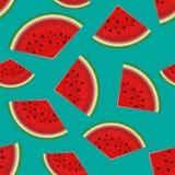De naadloze achtergrond van de zomer Realistische watermeloen met plakken Stock Afbeeldingen