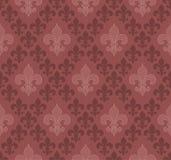 De naadloze achtergrond van Fleur De Lis van de marsalakleur Royalty-vrije Stock Afbeeldingen