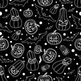 De naadloze achtergrond van Halloween met knuppels, pompoen, vectorillustratie Stock Afbeelding