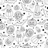 De naadloze achtergrond van Halloween met knuppels, pompoen, vectorillustratie Stock Afbeeldingen