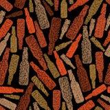De naadloze achtergrond van het barthema, het naadloze patroon van Bierflessen, ve Stock Fotografie