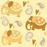 De naadloze achtergrond van het het patroonbehang van olifantsjonge geitjes met bloemen en hart, illustratie Stock Afbeelding