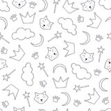 De naadloze achtergrond van het nachtthema met katten en kronen royalty-vrije illustratie