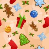 De naadloze achtergrond van Kerstmis Vector Illustratie
