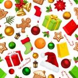 De naadloze achtergrond van Kerstmis Vector illustratie Royalty-vrije Stock Fotografie