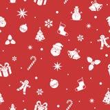 De naadloze achtergrond van Kerstmis Vlakke kleuren Het monochromatische ontwerp van de beeldverhaalstijl stock illustratie